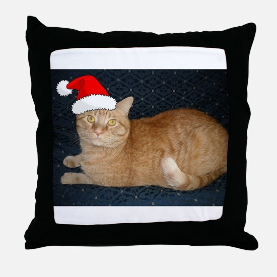 Christmas Orange Tabby Cat Throw Pillow