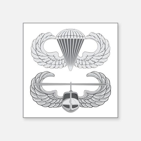 "Airborne Air Assault Square Sticker 3"" x 3"""