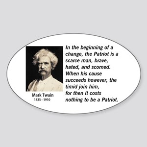 Mark Twain Patriotism Oval Sticker