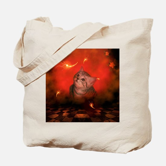 Cute little kitten, red background Tote Bag