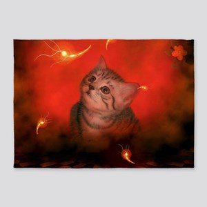 Cute little kitten, red background 5'x7'Area Rug