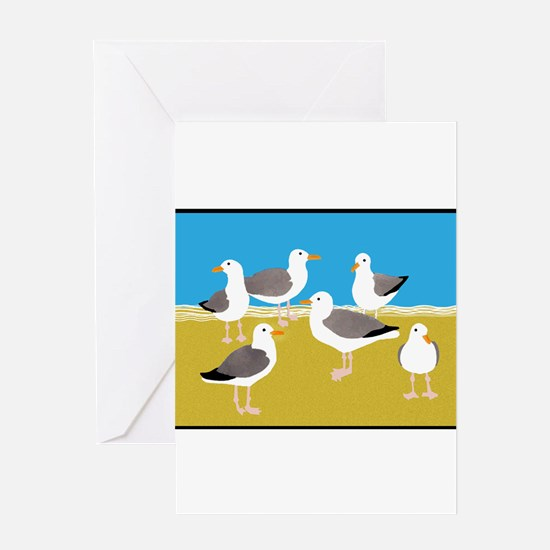 Gang of Seagulls Greeting Cards