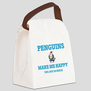 Penguins Make Me Happy Canvas Lunch Bag