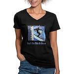 Skier Challenge Women's V-Neck Dark T-Shirt