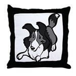Collie Play Bows Throw Pillow