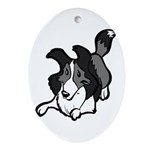 Collie Play Bows Oval Ornament