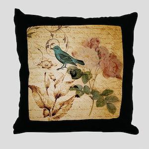 vintage rose bird paris fashion Throw Pillow
