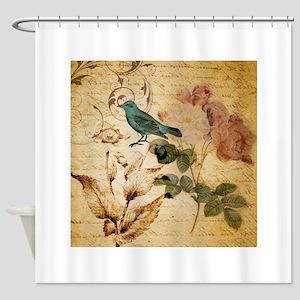 vintage rose bird paris fashion Shower Curtain