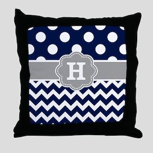 Navy Gray Dots Chevron Monogram Throw Pillow