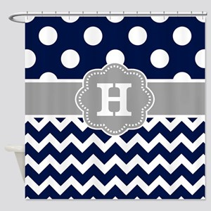 Navy Gray Dots Chevron Monogram Shower Curtain