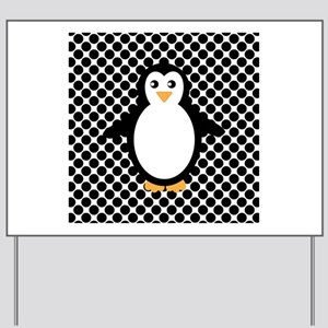 Penguin on Black and White Yard Sign