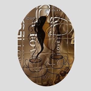 Love Coffee Ornament (Oval)