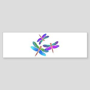 Dive Bombing Iridescent Dragonflies Bumper Sticker
