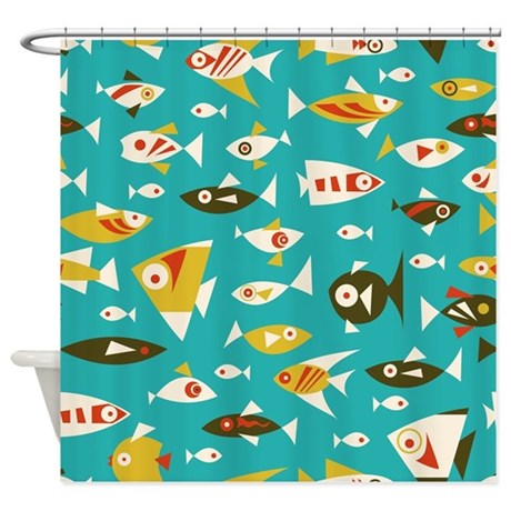 Colorful Retro Fish Shower Curtain