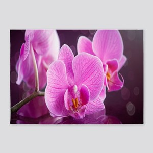 Pink Orchids 5'x7'Area Rug