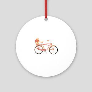 Pink Cruiser Bike Ornament (Round)