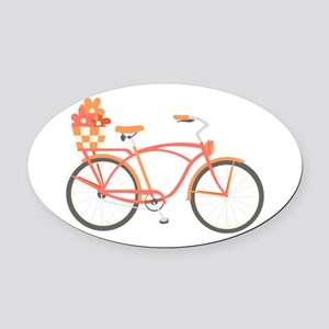 Pink Cruiser Bike Oval Car Magnet