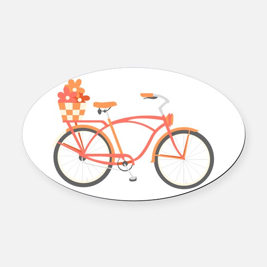 Pink Cruiser Bike Oval Car Magnet