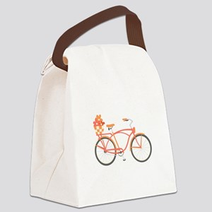 Pink Cruiser Bike Canvas Lunch Bag