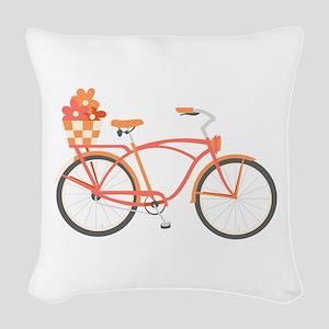 Pink Cruiser Bike Woven Throw Pillow