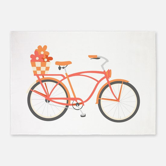 Pink Cruiser Bike 5'x7'Area Rug