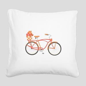 Pink Cruiser Bike Square Canvas Pillow