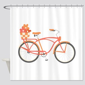 Pink Cruiser Bike Shower Curtain