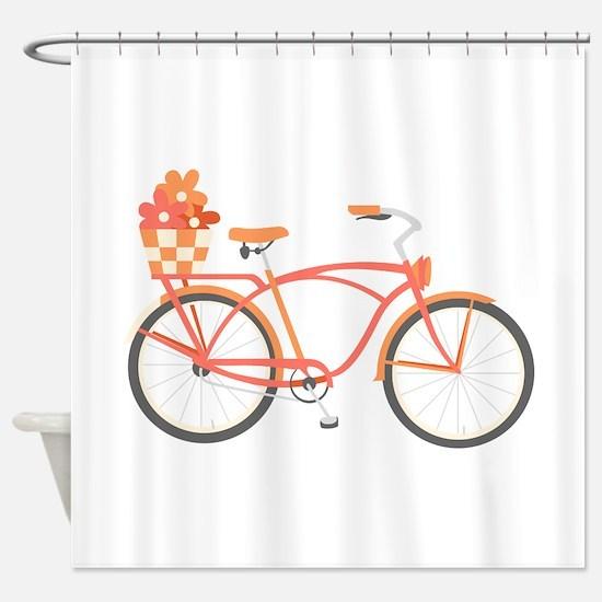Pink Cruiser Bike Shower Curtain