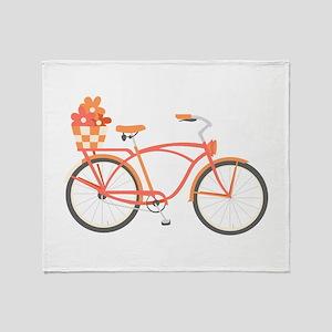 Pink Cruiser Bike Throw Blanket