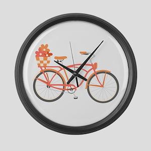 Pink Cruiser Bike Large Wall Clock