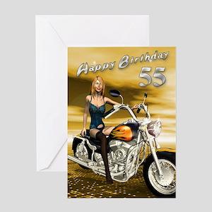 55th birthday, a sexy girl on a chopper birthday c
