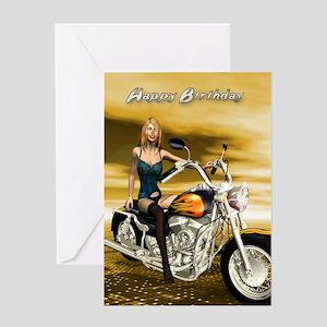 A Sexy Girl On Chopper Birthday Card Greeting C