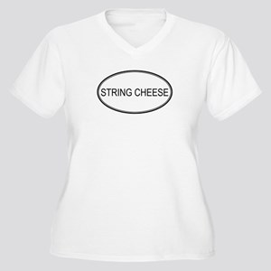 STRING CHEESE (oval) Women's Plus Size V-Neck T-Sh