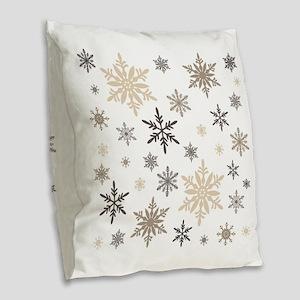 modern vintage snowflakes Burlap Throw Pillow