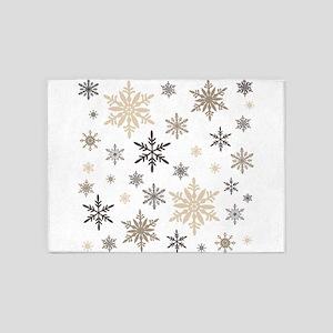 modern vintage snowflakes 5'x7'Area Rug