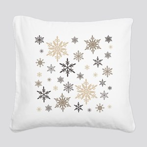 modern vintage snowflakes Square Canvas Pillow