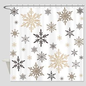 modern vintage snowflakes Shower Curtain