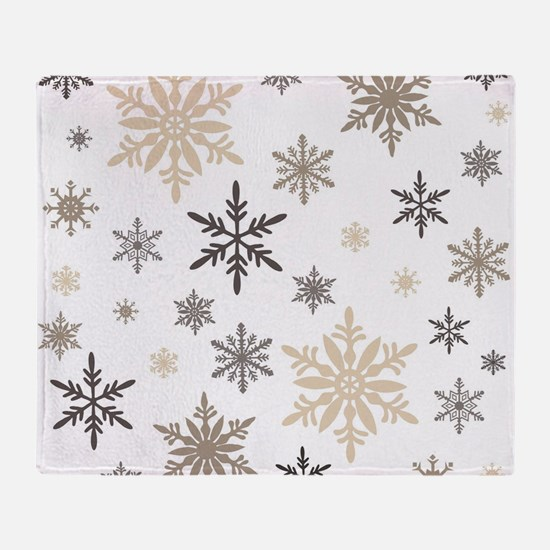 modern vintage snowflakes Throw Blanket