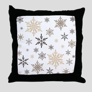 modern vintage snowflakes Throw Pillow