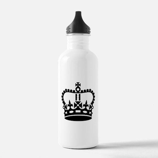 Black king crown Water Bottle