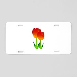 Red Tulips Flower Aluminum License Plate