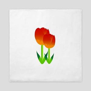 Red Tulips Flower Queen Duvet