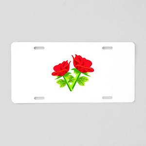 Red Roses Flower Aluminum License Plate