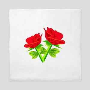Red Roses Flower Queen Duvet
