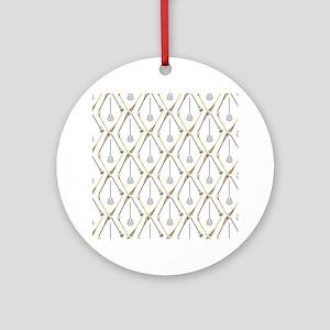 Five Lacrosse Sticks Ornament (Round)