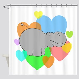 Hippo Hearts Shower Curtain
