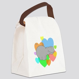Hippo Hearts Canvas Lunch Bag