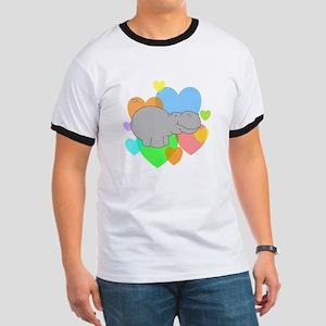Hippo Hearts Ringer T