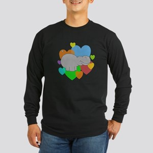 Hippo Hearts Long Sleeve Dark T-Shirt