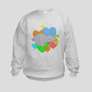 Hippo Hearts Kids Sweatshirt